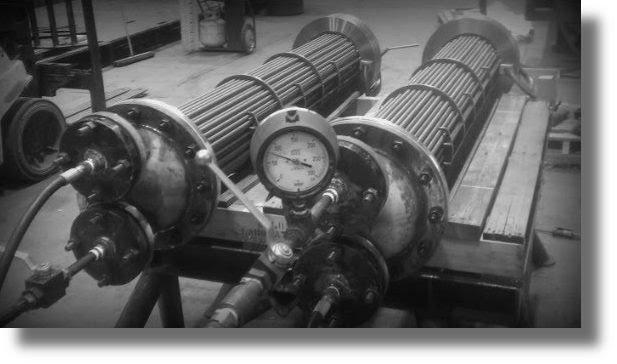 TEMA oil cooler bundles under hydrostatic test